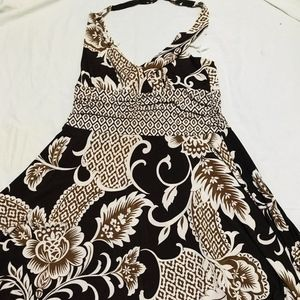 brown cream halter dress plus size